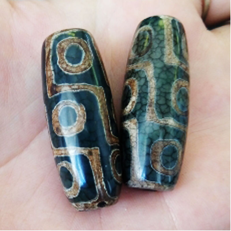 FLTMRH Vintage Green Stone Natural Tibetan Dzi Agates Stone Beads Oval Geometric Nine-eyed Antique Agates Beads for Women Ma image