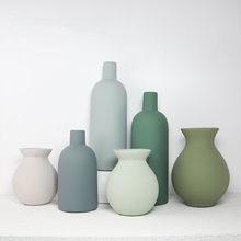 Vase Decoration Small Delicate Nordic Ceramic Morandi Light Color Luxury Piece Living Room Porch Dry Flowers Desktop Home Decor