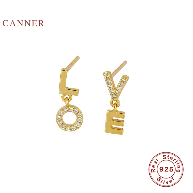 CANNER Earrings For Women Real 925 Sterling Silver English Alphabet Love Piercing Stud Earrings Zircon Diamond Korean Jewelry