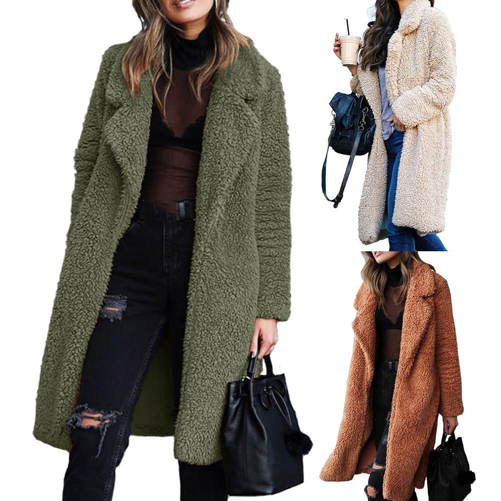 Fashion Women Winter Thicken Plush Lapel Solid Color Long Sleeve Warm Cardigan Midi Coat Polyester Fiber/Spandex Women's Coat
