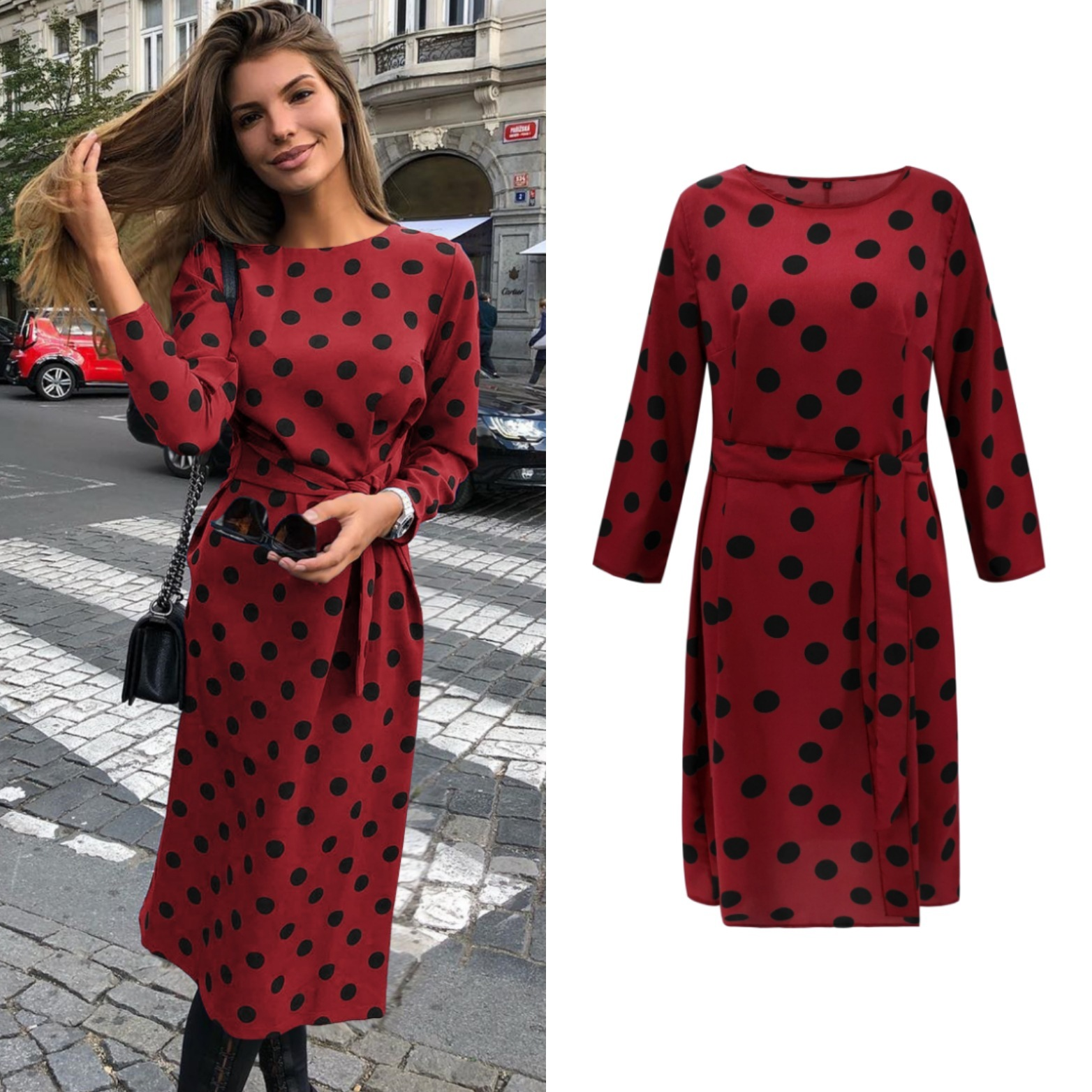 BGW Plus Size Cocktail Dresses Red Blue Classic Wave Point Long Sleeves Round Neck Party Gowns With Sash Bodycon Dress Longuette
