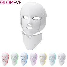 Светодиодная маска для лица, 7 цветов, светодиодный фотонный светильник, терапия, маска для лица, машинное омоложение кожи, маска от акне, маска для шеи, красота, спа, светодиодная маска, машина
