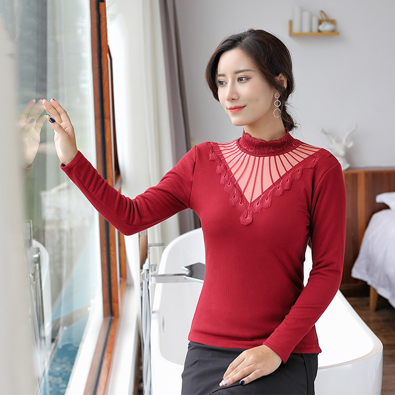 Black Turtleneck Lace Thermal Underwear For Women 3XL Plus Size Long Sleeve Basic Thermo Tops Female Velvet Thick Warm Pullover