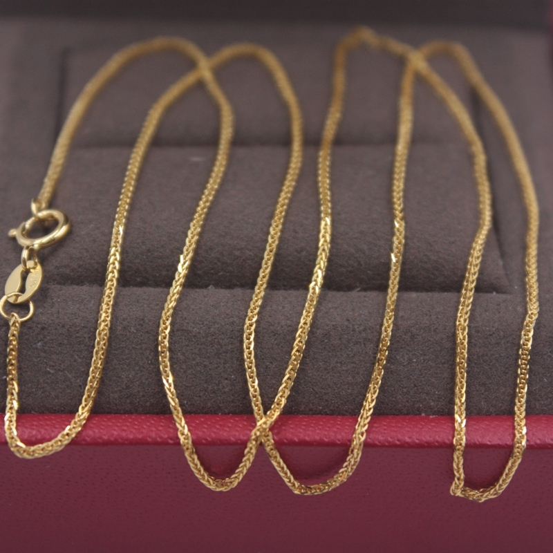 Pure 18k or jaune chaîne femmes chance blé Foxtail lien collier 18 pouces 1mmW 1.45g