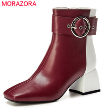 MORAZORA 2020 di alta qualità genuino scarpe di cuoio delle donne della caviglia stivali fibbia di colore misto zip autunno inverno ufficio vestito scarpe da donna