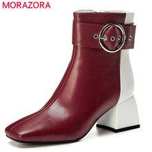 MORAZORA 2020 en kaliteli hakiki deri ayakkabı kadın yarım çizmeler toka karışık renk zip sonbahar kış elbise ofis ayakkabı bayanlar