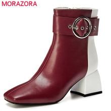 MORAZORA 2020 最高品質の本革の女性のアンクルブーツバックル混合色ジップ秋冬ドレスオフィス靴女性