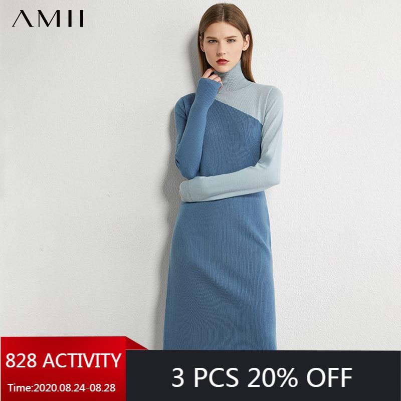 AMII Minimalism Autumn Knitted Women's Dress Fashion Spliced Slim Fit Turtleneck Women Sweater Female Autumn Dress 12070339