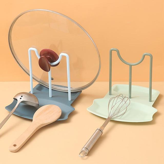 Dish Rack Kitchen Organizer Pot Lid Storage Rack Countertop Punch-free Spoons Pad Bracket Home Shelf Kitchen Accessories