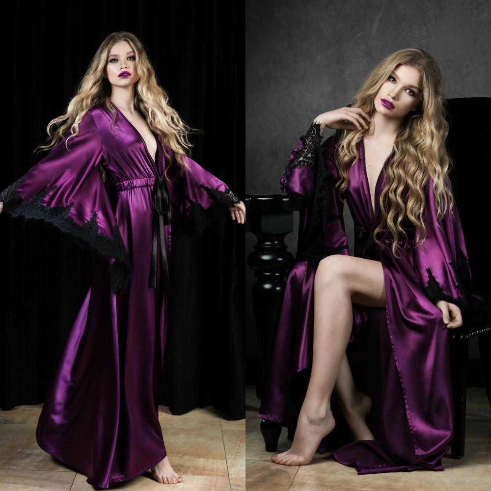 Amazing Purple Night Robe With Lace Long Sleeves 2020 Women Bathrobe Top Quality Party Sleepwear Bridal Nightgown Robes Custom