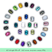 Free shipping 19*15mm acrylic rhinestone button flatback can mix colors 20PCS/lot(BTN-5673)