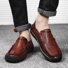цены Genuine Leather Men Casual Shoes Luxury Brand 2019 Mens Loafers Moccasins Breathable Slip On Driving Shoes