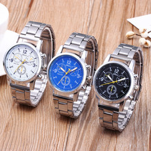 Men's Fashion Business Stainless Steel Alloy Three Eyes Hook Watch мужски�