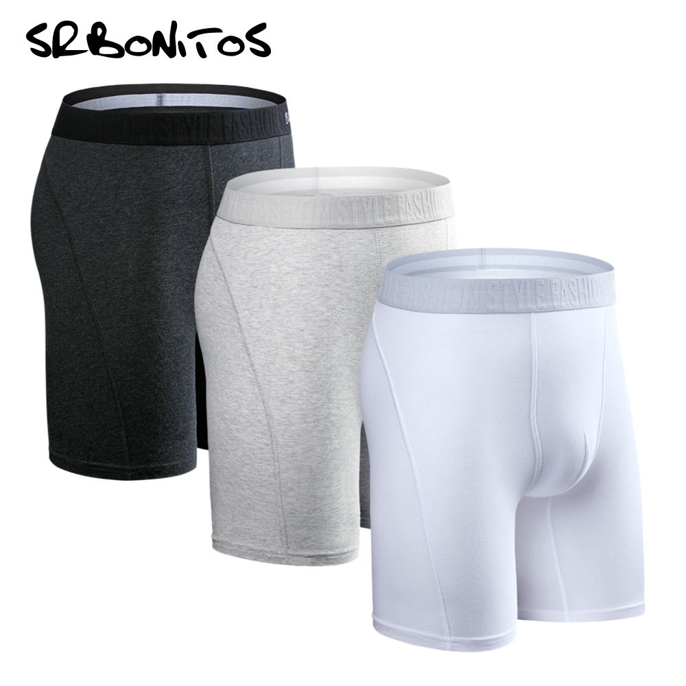 SRBONITOS Brand 3pcs Long Boxer Men Underwear Men Boxer Man Underwear Boxershorts Cotton Shorts Soft Sexy Breathable Underpants