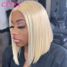 CEXXY Blonde Lace Front Wig Brazilian 613 Short Bob wig 13x6 Lace Front Human Hair Wig Transparent Lace Wigs For Black Women(China)