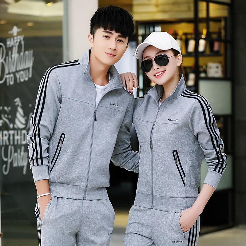 Spring New Style Couples Sports Set Men And Women Outdoor Running Long Sleeve Casual Sports Clothing Middle School Students Scho
