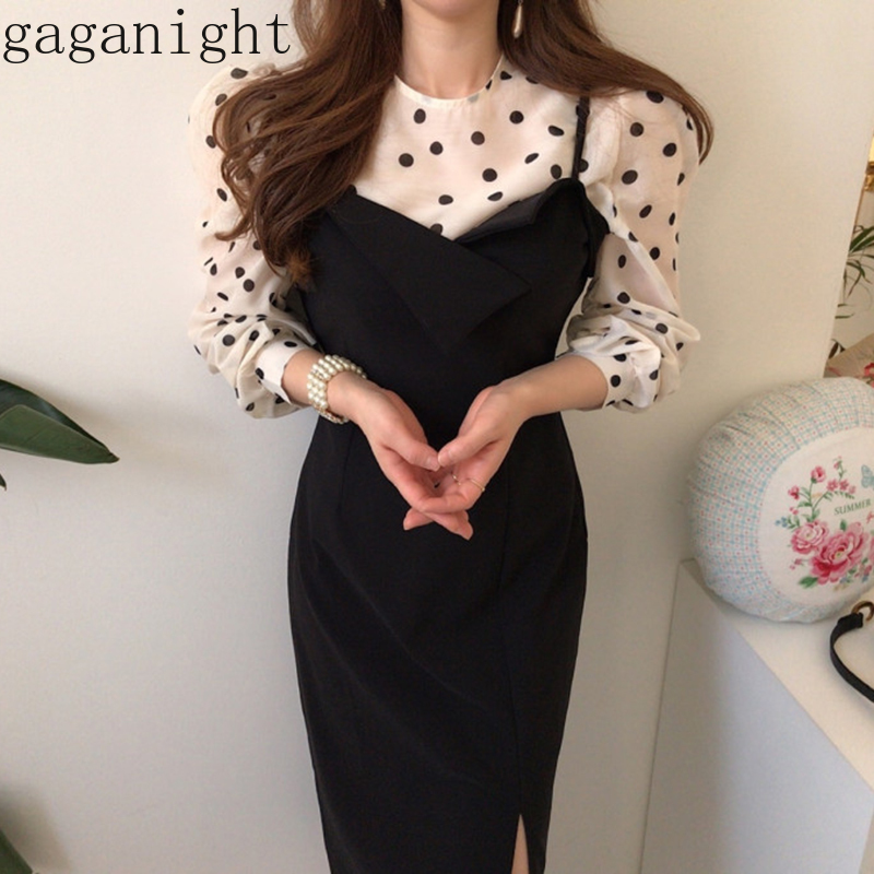 Gaganight Fashion Women Two Pieces Set Polk Dot Vintage Women Long Sleeve Blouse Side Split Black Slim Bodycon Maxi Dress Chic