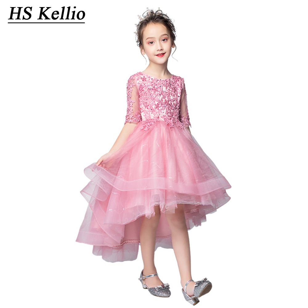 HS Kellio   Flower     Girl     Dresses   Lace Appliques High Low Little   Girls   Banquet   Dress   Party For wedding pink