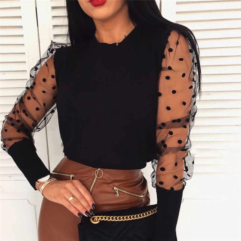 Frauen Frühling Mesh Puff Langarm Rippen Gestricktes Hemd Lose Beiläufige Tupfen Bluse Tops Elegante Rollkragen Party Clubwear