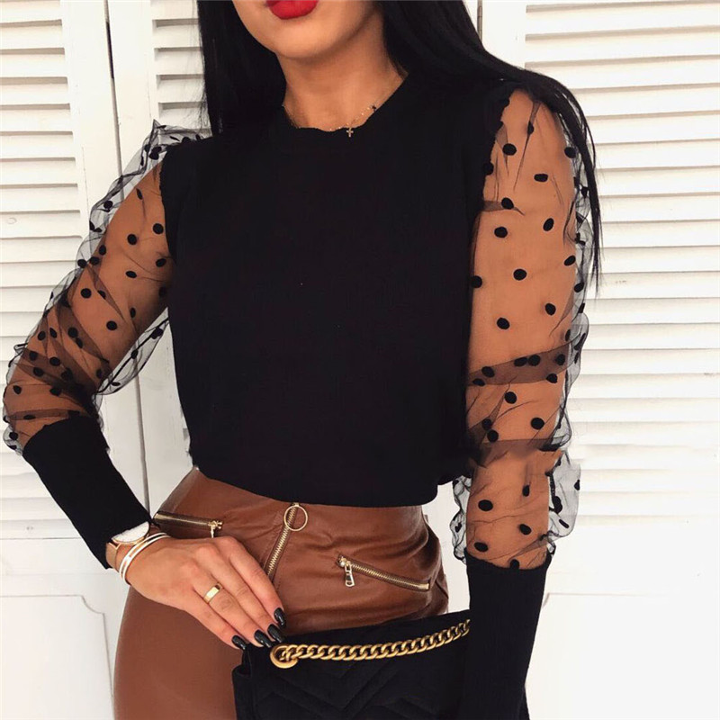 Women Spring Mesh Puff Long Sleeve Ribbed Knitted Shirt Loose Casual Polka Dots Blouse Tops Elegant