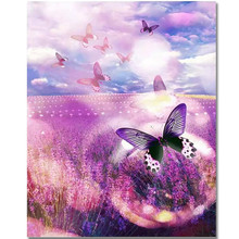 RIHE Lavender Flower Sea-DIY Painting by numbers Kit,Hand Painted Canvas Painting,Wall Art Picture,Paint 40x50CM