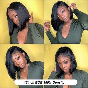 Image 4 - Jaycee 4x4 קצר בוב פאות תחרה סגירת פאה ישר שיער טבעי פאות עבור נשים שחורות 150% alipearl שיער Perruque cheveux Humain