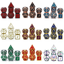 Pouch Dices-Set Table-Games Metal-Dice Dados MTG RPG DND D12 D20 D6 Velvet D10 D%D8 D--D