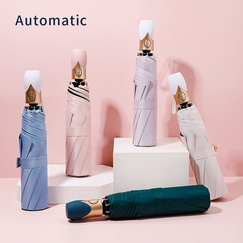 High Quality Automatic Umbrella Rain Women Three-folding Umbrella Windproof Pure Color Umbrella Female Waterproof parasol