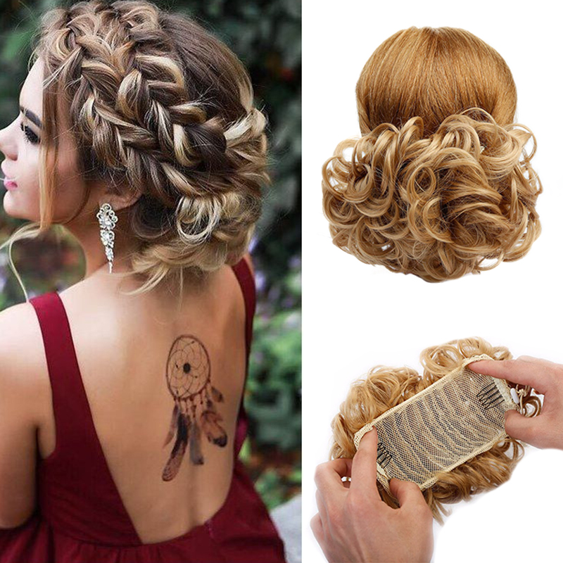 LUPU Messy Scrunchy Chignon Synthetic Hair Bun Clip In Hair Extensions Hairpieces With High Temperature Fiber For Women