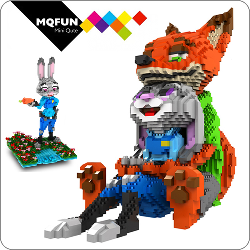 PZX Lovely Cartoon Mini Blocks Fox Rabbit Anime Building Blocks Toys Zootopia Educational Toy for valentines day Gifts Children|Blocks| |  - title=