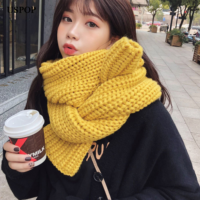 Image 5 - USPOP 2019 Winter scarf large long women scarves female warm knitted scarf casual simple solid color shawl-in Women's Scarves from Apparel Accessories