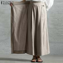 Harajuku Style Wide Leg Pants Women's Spring Trousers ZANZEA 2021 Casual Elastic High Waist Long Pantalon Plus Size Turnip S-5XL