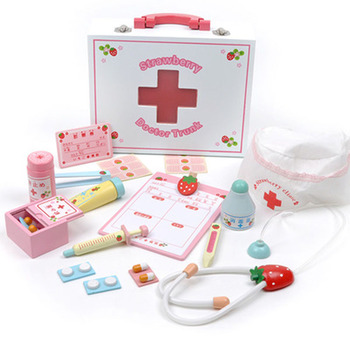 Baby Wooden toys Funny play Real Life Cosplay Doctor game Portable Medicine Box Pretend Doctor Play Set Wooden Toy Kid Gifts