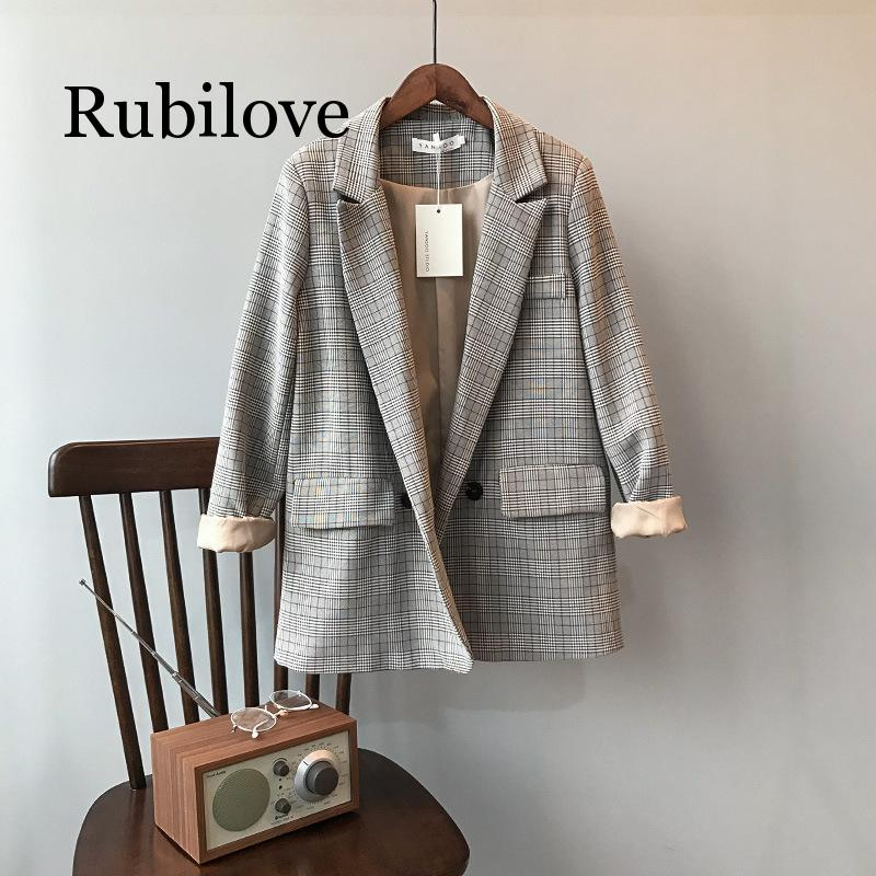 Rubilove Spring Blazer Slim Korean Restore Plaid Suit Loose Suit Harajuku Vintage Jacket Feminine Outwear