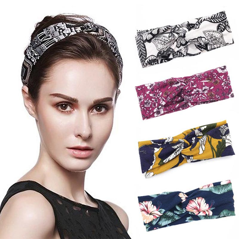 Women Hair Accessories Fashion Headband Fabric Cross Leopard Twist Knot Elastic Wrap Turban Hair Band Yoga Running Sport Ladies