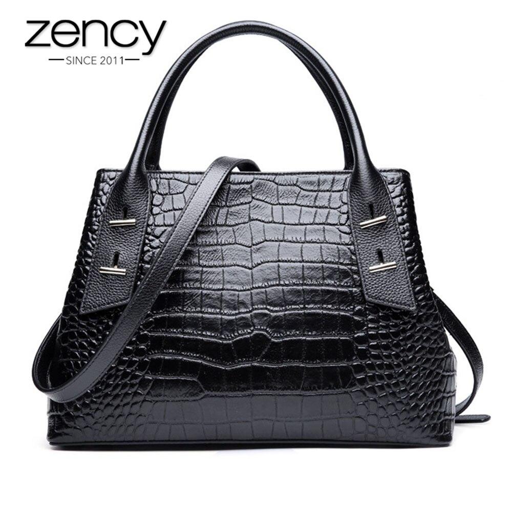 Zency High grade Krokodil Muster Frauen Tote Handtasche 100% Echtem Leder Schwarz Schulter Taschen Mode Bussiness Crossbody Geldbörse-in Taschen mit Griff oben aus Gepäck & Taschen bei  Gruppe 1