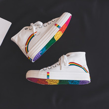 New Fashion Black Breathable Classic High Women Canvas Sneakers Rainbow Sole High top Vulca