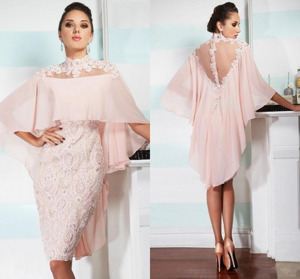 Pink High Neck With Wraps Sheer Back Lace Sheath Knee Length Party Beaded Appliques Vestidos RG085 Mother Of The Bride Dresses