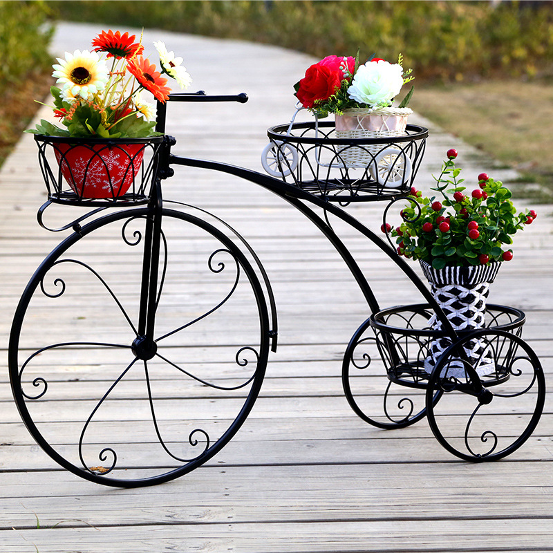 European Style Iron Bicycle Flower Stand Metal Basket Flower Racks Bicycle Lovers Metal Garden Decor Balcony Indoor Plant Stand