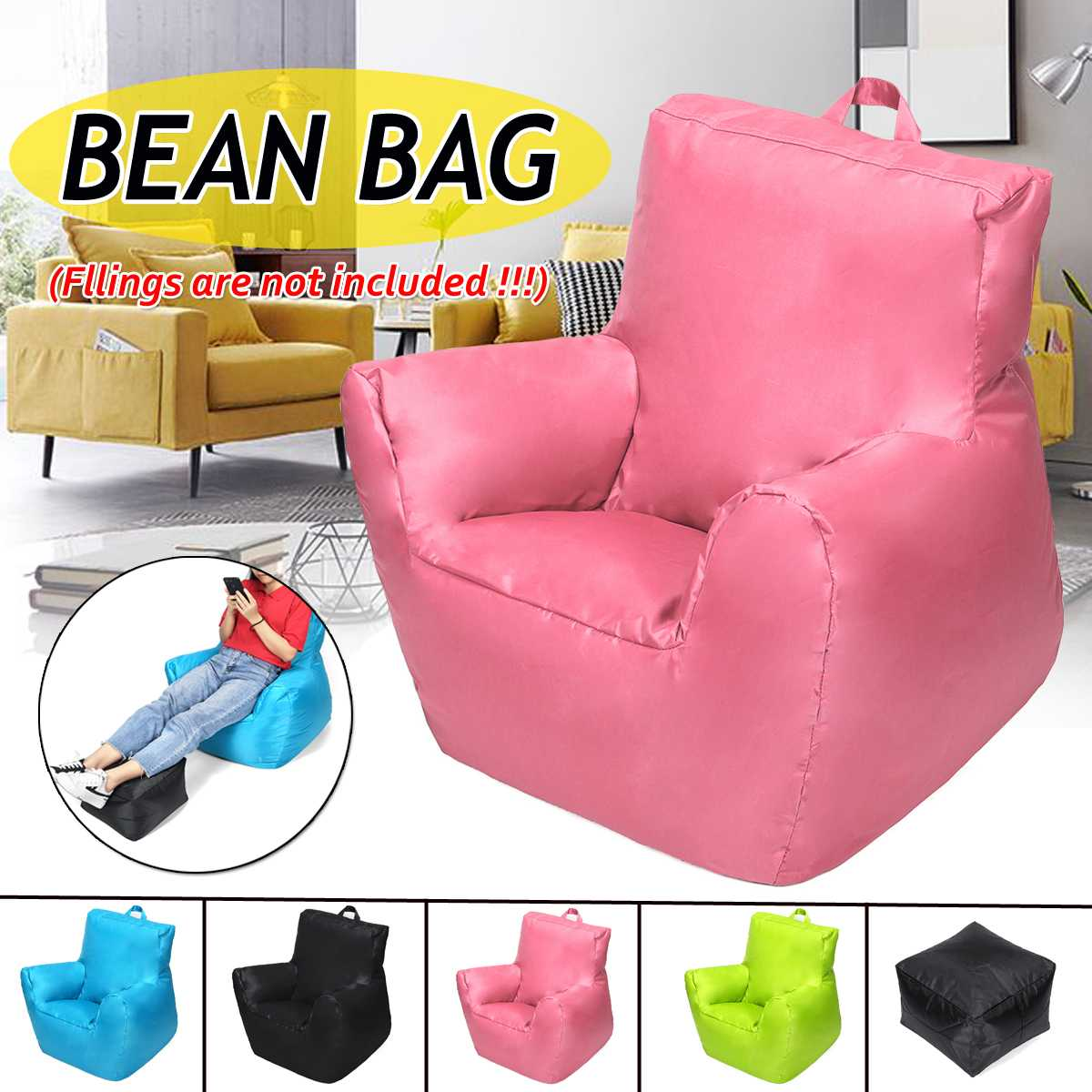 420D Oxford Cloth Lazy Sofas Cover Chairs Bean Bag Sofas Lounger Seat Bean Bag Pouf Puff Couch Tatami Living Room for Children|Bean Bag Sofas| |  - title=