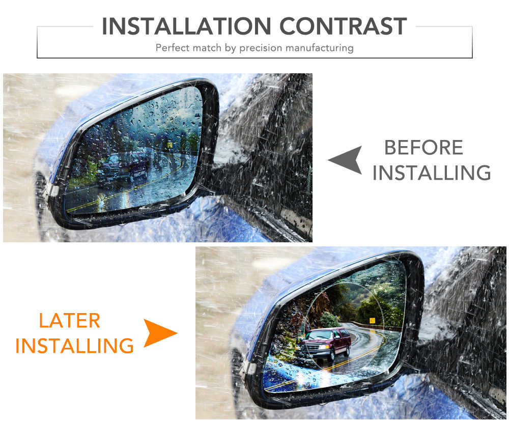 2PCS רכב Rearview מירור רכב אביזרי פנים קישוט אנטי ערפל קרום עמיד למים אטים לגשם חלון מגן סרט