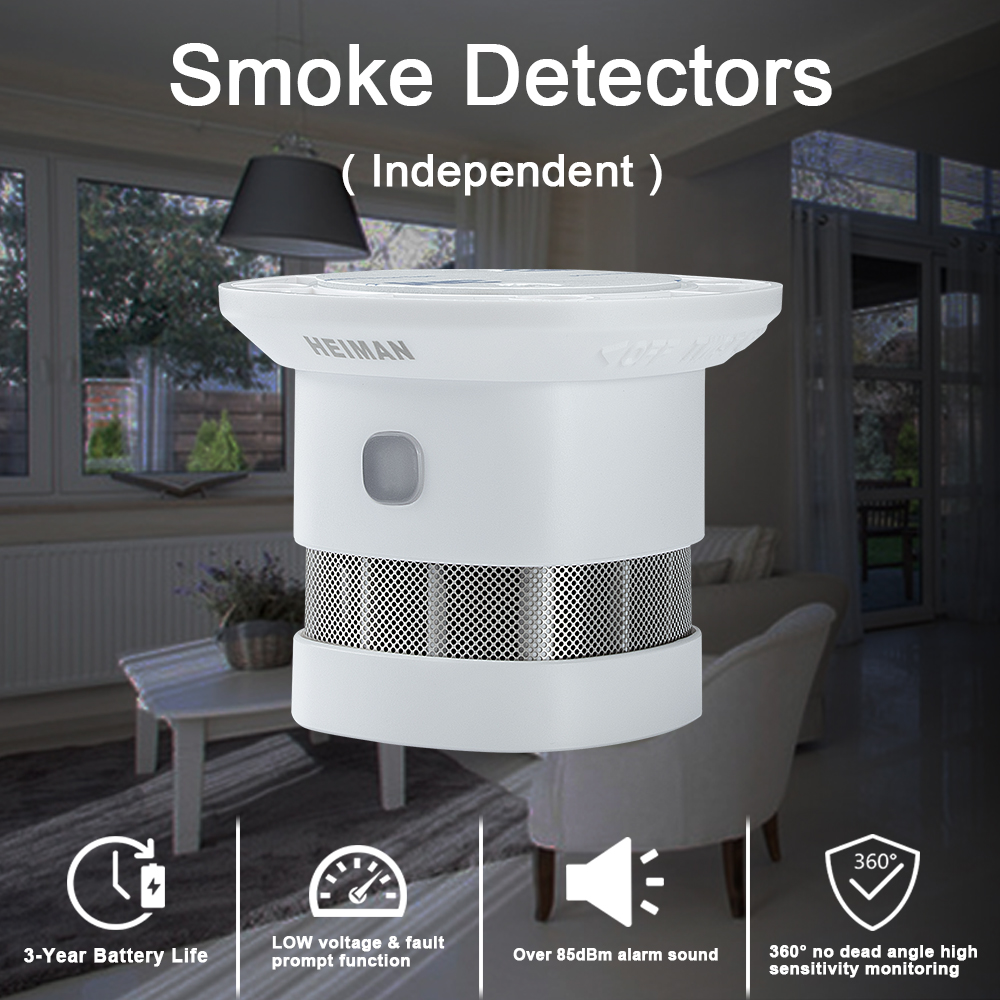 Closeout DealsHEIMAN independent fire alarm smoke detector home high sensitivity safety protection system Wireless sensor mini Portable