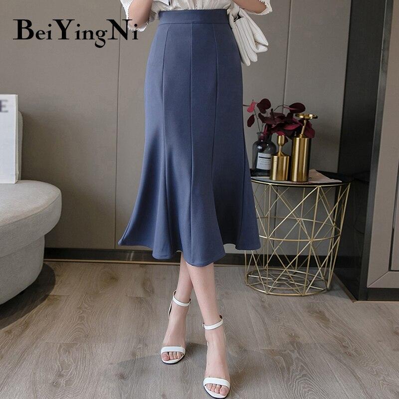 Beiyingni Woman's Skirt 2020 Casual Package Hip High Waist Office Work Wear Mermaid Skirts Womens Black Saia Midi Mujer Faldas