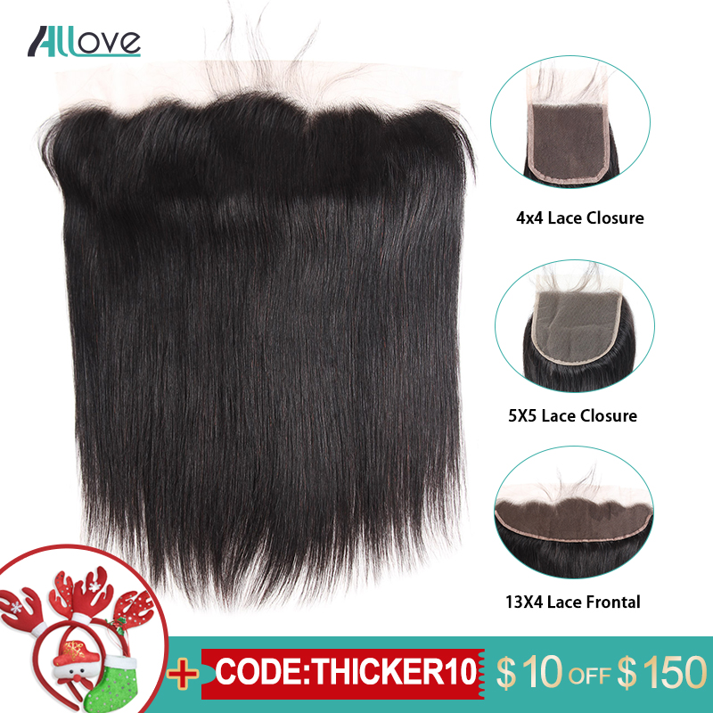 5X5 Lace Closure Allove Human Hair Closure 13x4 Lace Frontal Brazilian Straight Hair 4x4 Lace Closure With Baby Hair Non-Remy