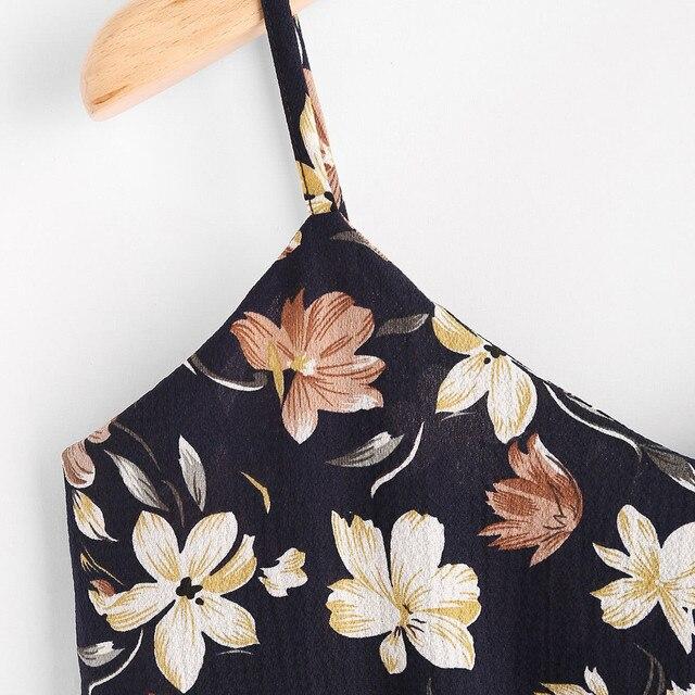 Femmes auto Bow haut pour femmme T-shirt haute qualité dos VNeck imprimé fleuri culture Boho été hauts pour dames Camis amples Topy # T5P