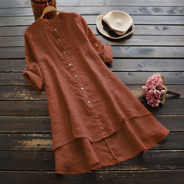 #H40 Casual Loose Cotton And Linen Blouse Women Soild Button Long Sleeve Long Shirt Womens Tops And Blouses Blusa Feminina 3