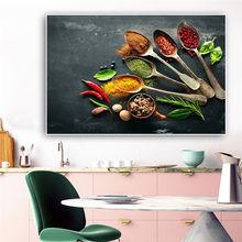 Картина на холсте «ложка зерна специи» постеры и принты зеленых