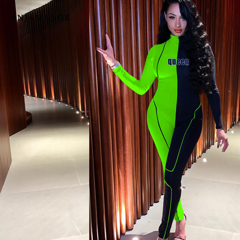 ANJAMANOR Sexy Long Sleeve Bodycon Jumpsuit Women Fall Clothing 2019 Plus Size Color Block Party Romper Clubwear D89-AE96