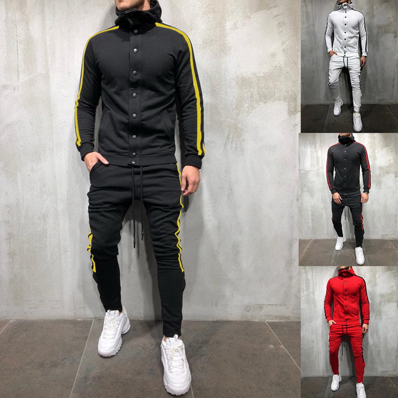 2020 Autumn Men 2 Pieces Set Fashion Striped Oversized Tracksuit Casual Button Streetwear Hooded Sweatshirt Pants Suit Male