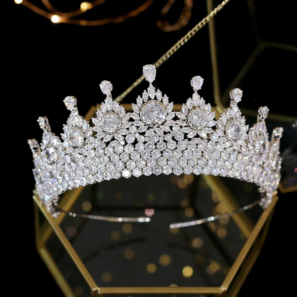 Shiny Full Zircon Wedding Crown Bride Crown Crystal Turban Crown Silver Adult Ceremony Tiaras Hair Accessories